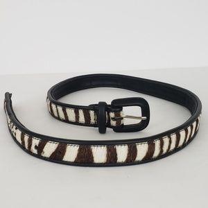 Italian Leather Hair on Hide Zebra Print Belt